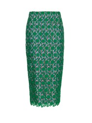 Stella Jean Floral Lace Skirt With Gingham Lining Green Multi