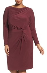 Adrianna Papell Plus Size Women's Knot Front Drape Jersey Dress