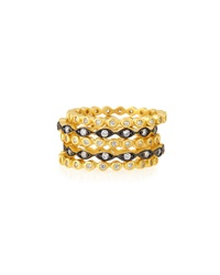 Freida Rothman Two Tone Cz Stacking Rings Set Of 5