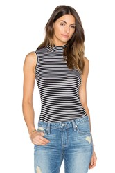 Atm Anthony Thomas Melillo Striped Sleeveless Mock Neck Tank Black And White