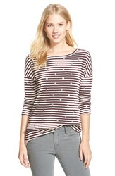 Women's Caslon Foiled Print Button Back High Low Tee