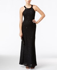 Adrianna Papell Petite Embellished Chiffon Evening Gown Black