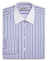 Turnbull And Asser Stripe French Cuff Classic Fit Dress Shirt 100 Bloomingdale's Exclusive Lavendar Navy White