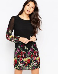 Yumi Long Sleeve Garden Print Shift Dress Black