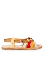 Isabel Marant Etoile Jeana Rope And Leather Sandals Red Multi