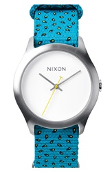 Nixon 'The Mod' Patterned Canvas Strap Watch 38Mm Silver Paisley Dot