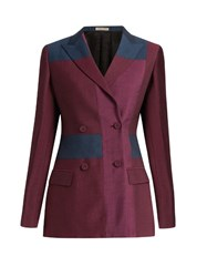 Bottega Veneta Peak Lapel Patchwork Wool Blend Blazer Burgundy Multi