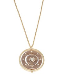 Kate Spade Out Of Her Shell Round Pave Pendant Necklace Beige