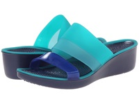 Crocs Color Block Translucent Mini Wedge Tropical Teal Nautical Navy Women's Wedge Shoes Green