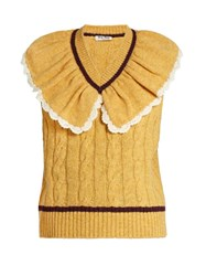Miu Miu Ruffle Neck Sleeveless Wool Sweater Yellow