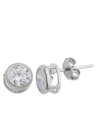 Lord And Taylor Platinum Cubic Zirconia Stud Earrings Silver