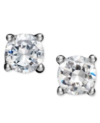 B. Brilliant Sterling Silver Earrings Round Cubic Zirconia Studs 1 2 Ct. T.W.