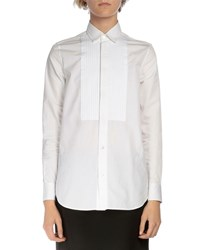Saint Laurent Long Sleeve Pintucked Poplin Tuxedo Shirt White Women's Size 36