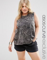 Asos Curve Sleeveless Top In Acid Wash With Hankey Hem Washed Black