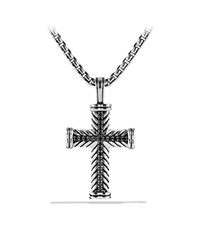 Chevron Cross Necklace Black Diamond 22' David Yurman