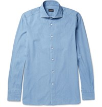Ermenegildo Zegna Slim Fit Cutaway Collar Cotton Chambray Shirt Light Blue