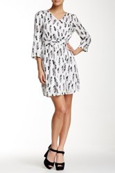 Daniel Rainn Printed Faux Wrap Dress White