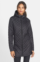 Merrell 'Soleil Mixer' Hooded Quilted Long Coat Black