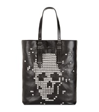Alexander Mcqueen Studded Skull Leather Tote Unisex Black