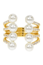 Gab Cos Designs Gold Vermeil 5Mm White Freshwater Pearl And Cz Expander Ring Metallic