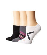 Hue Ergonomic Liner 3 Pack Black White Thunder Women's Crew Cut Socks Shoes Multi