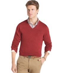 Izod Essential Lightweight V Neck Fine Gauge Sweater Red Dahlia