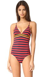 Stella Mccartney Stripe One Piece Flame Navy Stripe