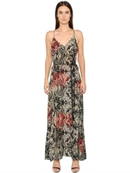 Black Coral Floral Printed Cotton Voile Long Dress