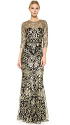 Marchesa Embroidered Gown With Long Sleeves Black