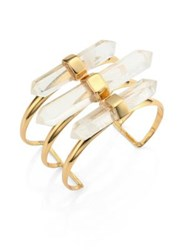 Alexis Bittar Lucite Rock Crystal Cuff Gold