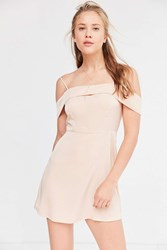 Silence And Noise Satin Off The Shoulder Mini Dress Nude