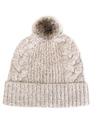 N.Peal Rabbit Fur Bobble Beanie Brown