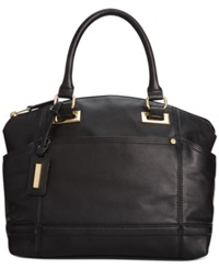 Tignanello Pretty Pockets Smooth Leather Convertible Satchel Black