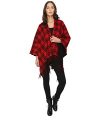 The Kooples Double Sided Wool Check Poncho With Black Lining Red