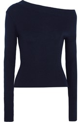 Jacquemus One Shoulder Ribbed Wool Sweater Navy