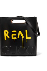 Gucci Printed Embossed Leather Tote Black