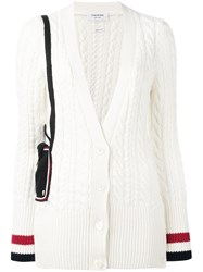 Thom Browne Cable Knit Cardigan White