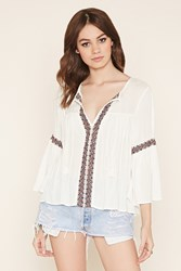 Forever 21 Lace Embroidered Peasant Top
