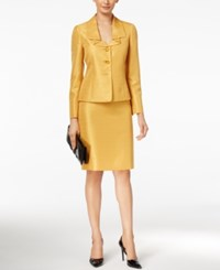 Le Suit Three Button Shimmer Skirt Yellow