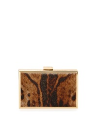 Class Roberto Cavalli Constance Calf Hair Box Clutch Bag Taupe Brown