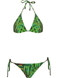 Osklen Stretch Reversible Foliage Print Bikini Set Green