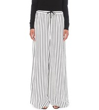 Mcq By Alexander Mcqueen Japan Twill Wide Leg Trousers White Black Stripe