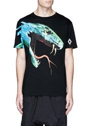 Marcelo Burlon 'Pantojo' Snake Head Print T Shirt Black Multi Colour