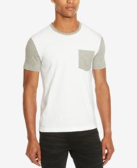 Kenneth Cole Reaction Men's Colorblocked Pocket T Shirt Dusty White