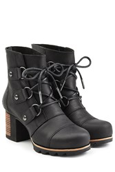 Sorel Leather Ankle Boots With Block Heel Black