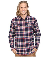 Vissla The Bluff Plaid Long Sleeve Heavy Weight Plaid Flannel Dark Navy Men's Clothing