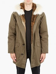 Yves Salomon Dark Green Rabbit Fur Lined Parka