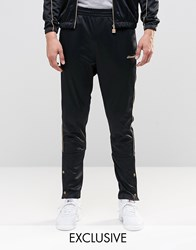 Ellesse Tricot Joggers With Gold Piping Black