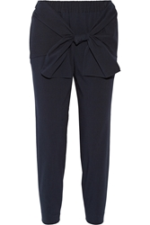 Tibi Tie Front Seersucker Stretch Cotton Blend Tapered Pants