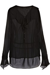 Karl Lagerfeld Ricci Ruffled Georgette Blouse Black
